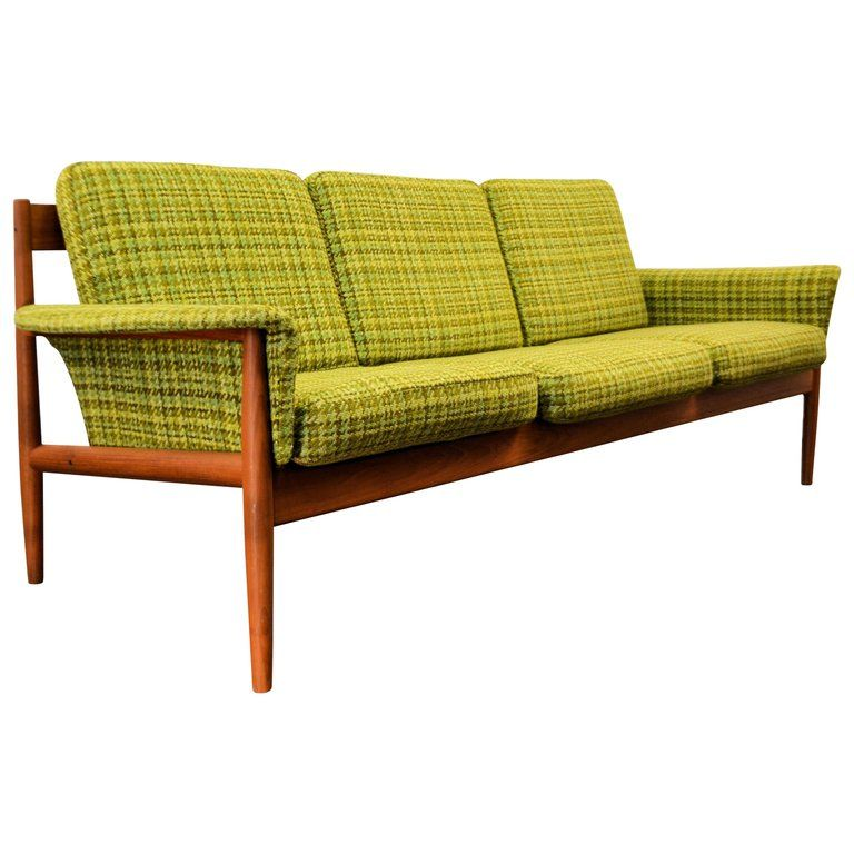 Grete Jalk Sofa Vintage Three Seat Danish Mid Century Modern