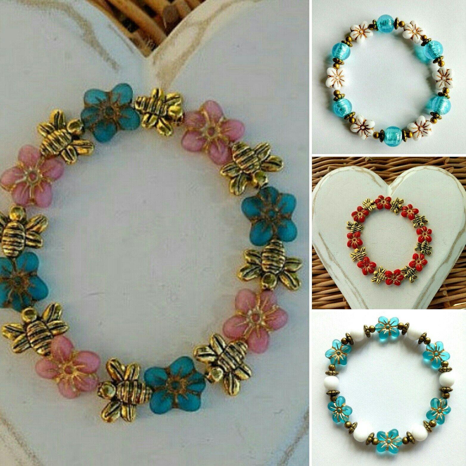 Beaded flower bracelet in pink and blue beaded flower bracelet