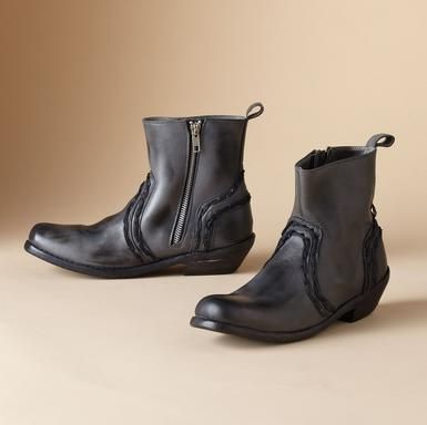 Hand stitched detailing puts the panache in boots crafted of vegetable-tanned leather from sole to bootstrap. Side zipper. Exclusive. Whole sizes 6 to 11.View our entire Vintage Shoe Company® Collection.