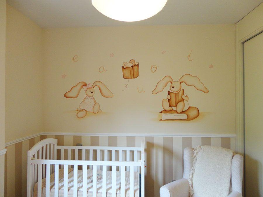mural de conejitos leyendo libros dibujo pintado en la pared murales infantiles pinterest libro dibujo leer libros y murales