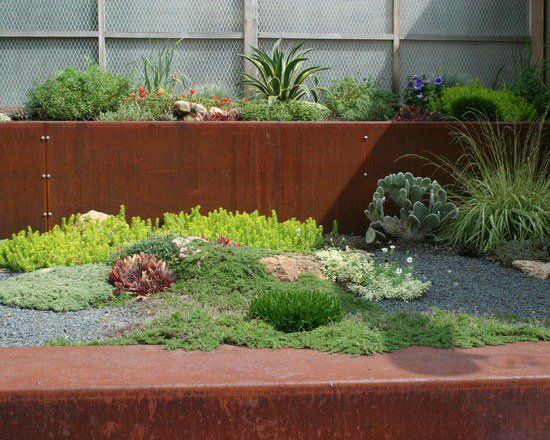 metal retaining wall industrial style landscape design