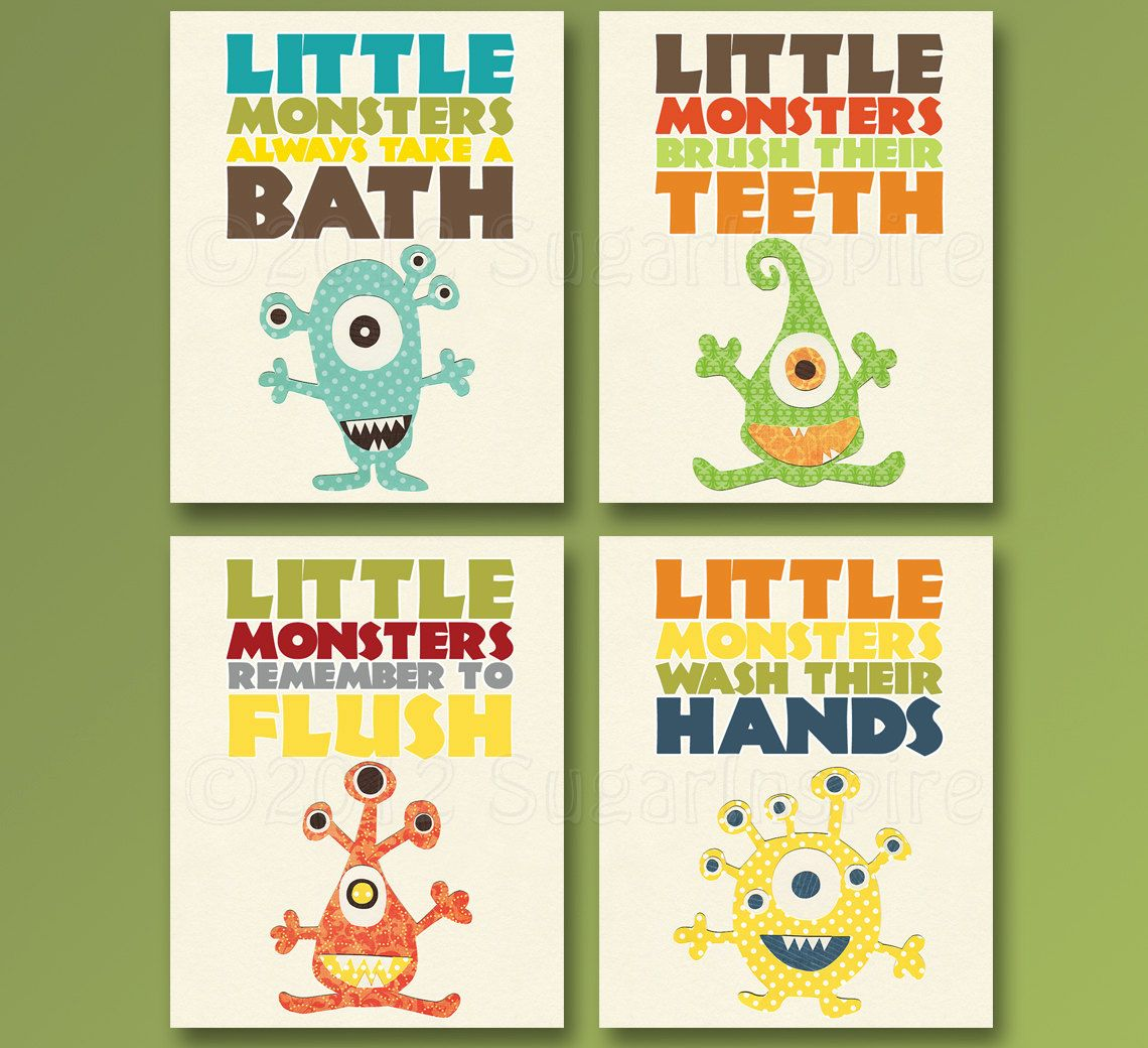 Bathroom sets for kids - Kids Bathroom Art Baby Bathroom Children S Bathroom Bathroom Monster 8x10 Little Monsters Wash Brush Flush Bath Bathroom Set Of 4