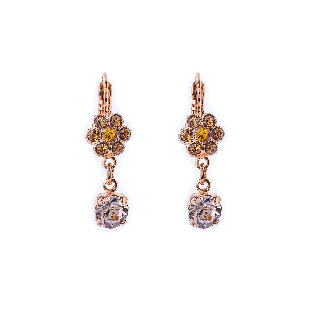 Photo of Flower Dangle Leverback Earrings Chai *Preorder* – Gray Plating