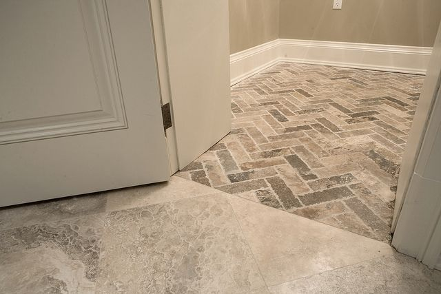 Tumbled Gray Travertine Herringbone Pattern Perfect For Bathroom Shower And Kitchen Floors