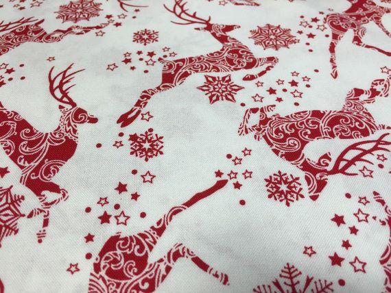 Winter Essentials III Red Reindeer On White by LonesomePineFabric