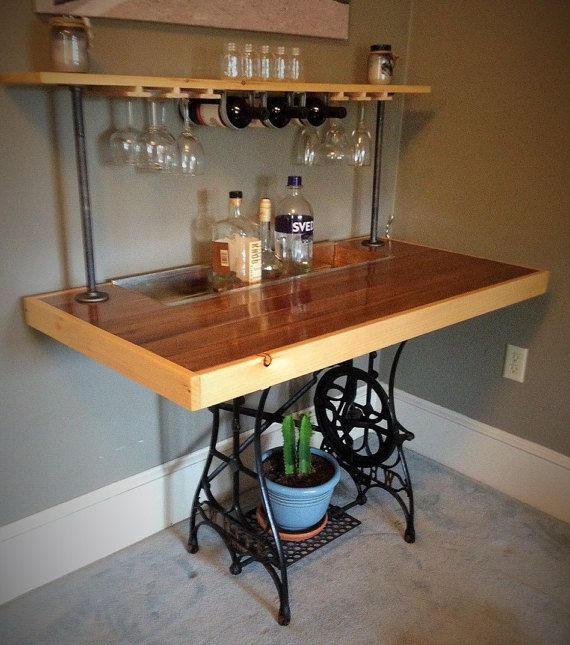 Repurposed Sewing Table Bar by BillyGoatFurniture on Etsy ...