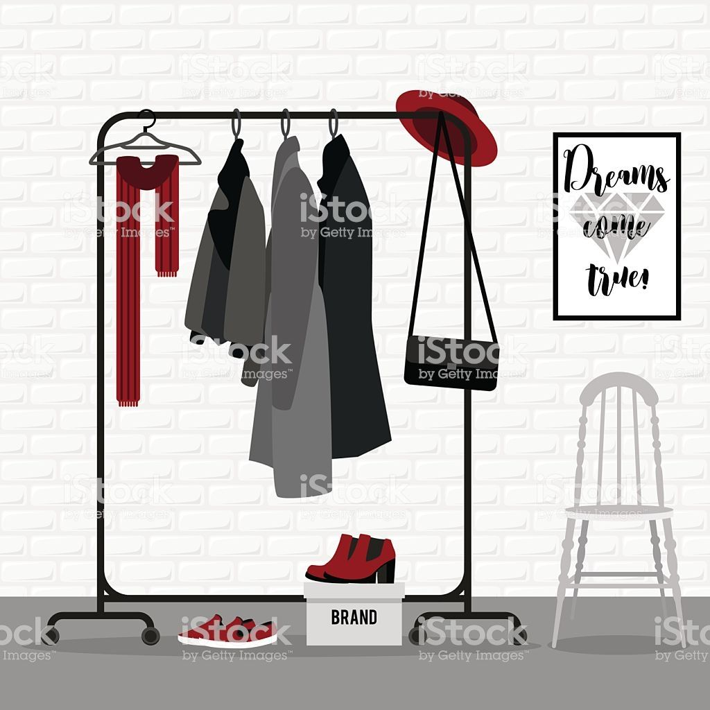 Vector illustration with coat rack. Closet with clothes