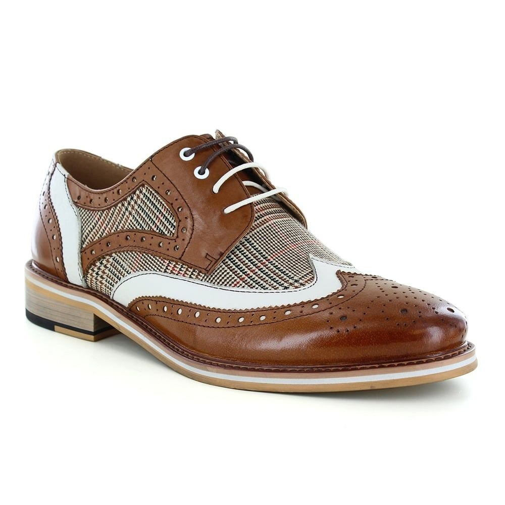 593fe424be2e8a Justin Reece Manley Mens Leather And Tweed 4-Eyelet Brogue Shoes - Brown  And Cream