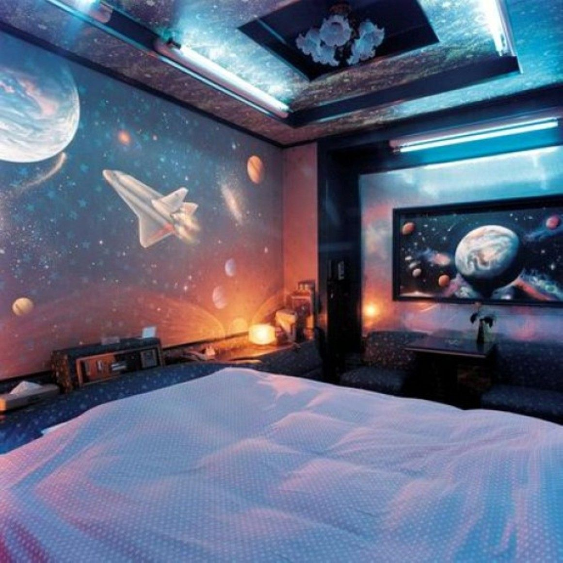 Bedroom , Outer Space Themed Bedroom : Great Space Themed Bedroom With  Outer Wallpaper And Led