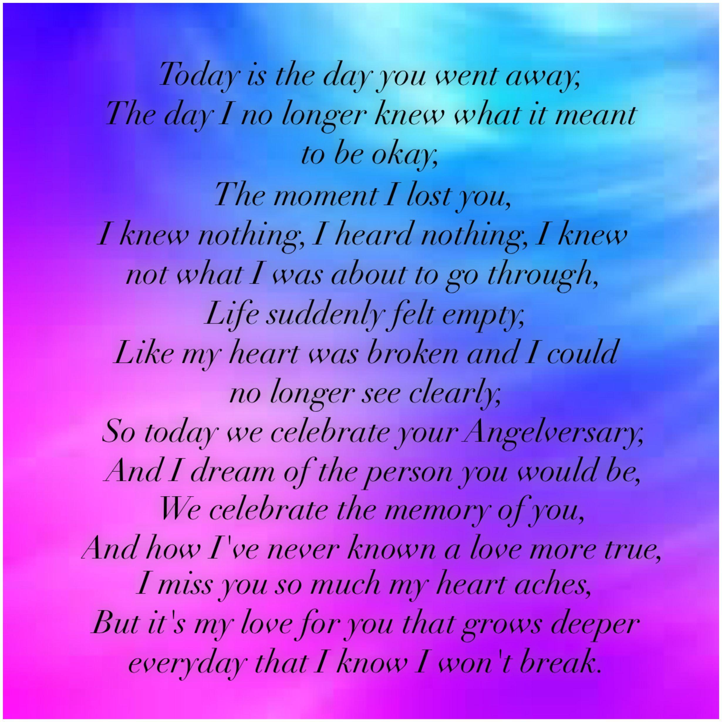 My Baby S Angelversary Angelversary Grievingmommy