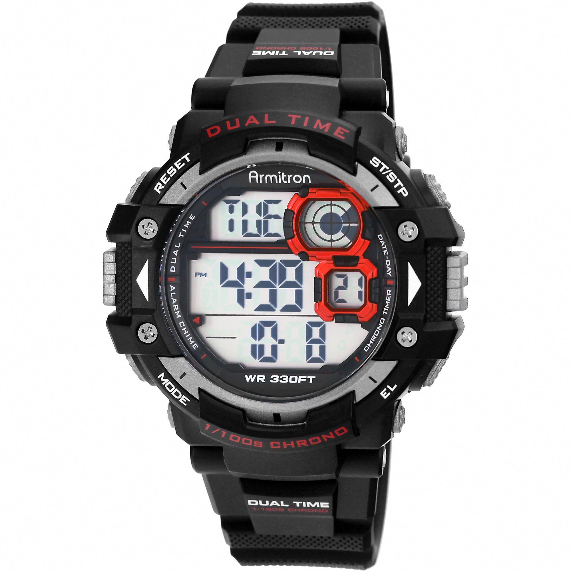Men's Sport Black Round Watch from armitron brand.