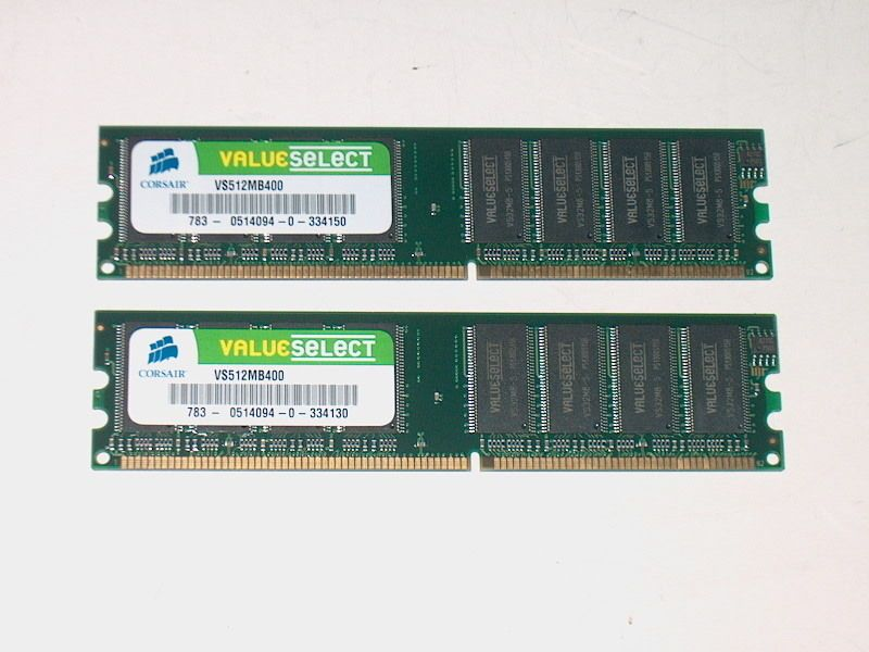 Corsair Value Select VS512MB400 1GB DDR Memory 2 x 512MB 184Pin PC3200 #Corsair