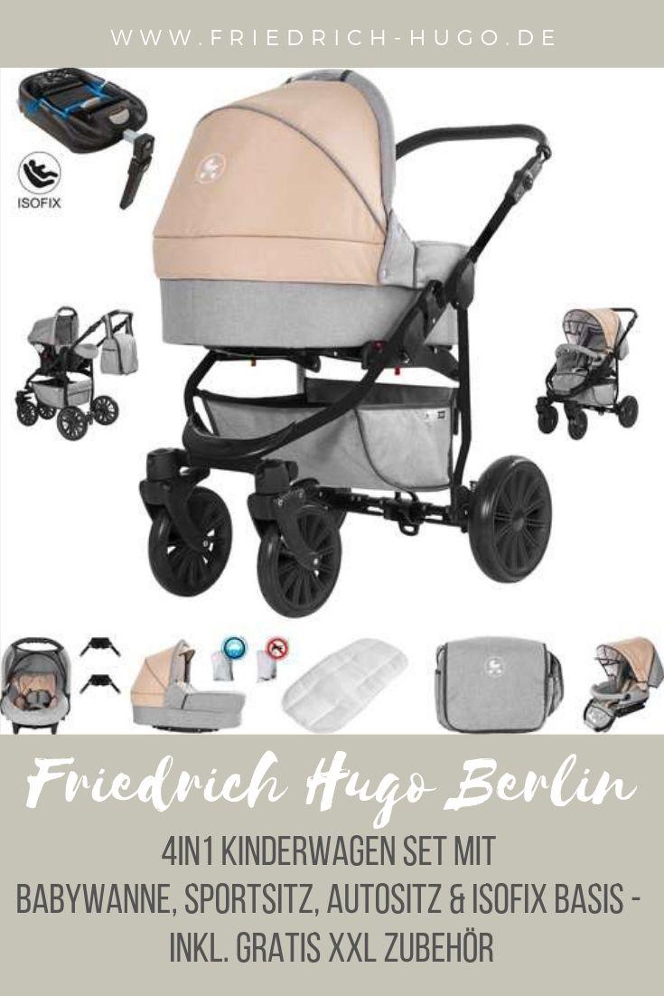 Friedrich Hugo Hamburg 3 in 1 Kombi Kinderwagen Komplettset Farbe: Beige /& Oatmeal Hartgummireifen