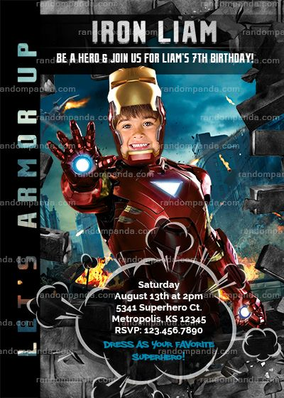 Superhero Invitation Avengers Invitation Boys Birthday Iron