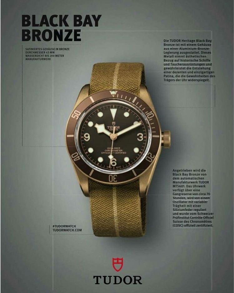 Just announced: the Tudor Black Bay Bronze dive watch. More info ...