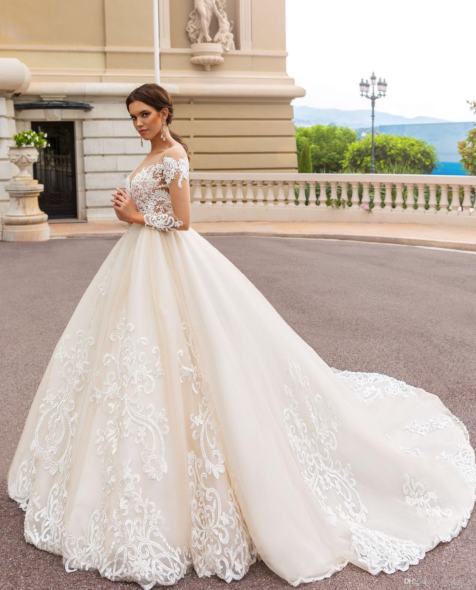 Discount long sleeves elegant luxury a line wedding dresses