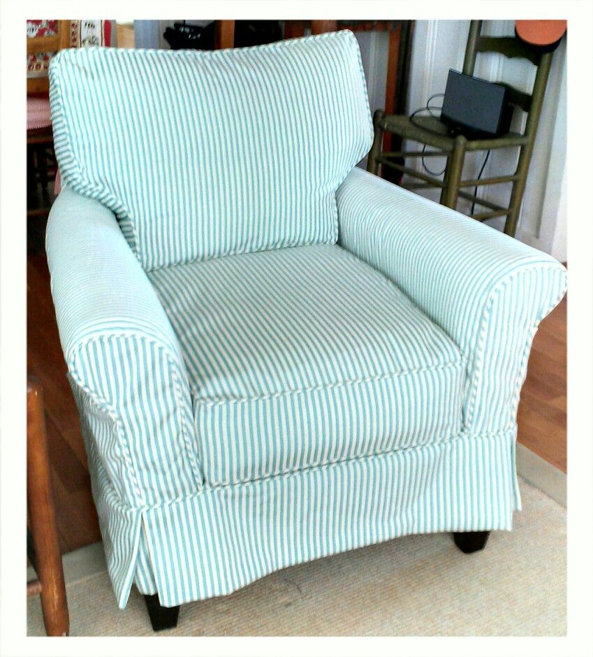 Replacement Slipcover We Made For A Por Lee Industries Chair From Narrow Outdoor Canvas Stripe In Pool Great Beach House Al