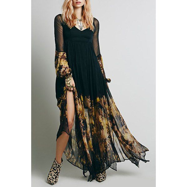 c23ec292025  25.99 Bohemian Plunging Neck Long Sleeve See-Through Floral Print Women s  Dress