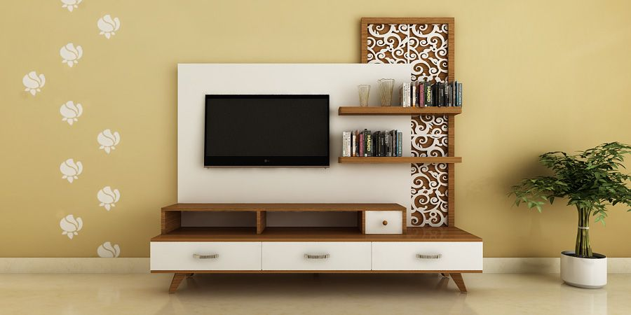 Modern ethnic tv unit with jaali design by intart for Modern tv unit design ideas