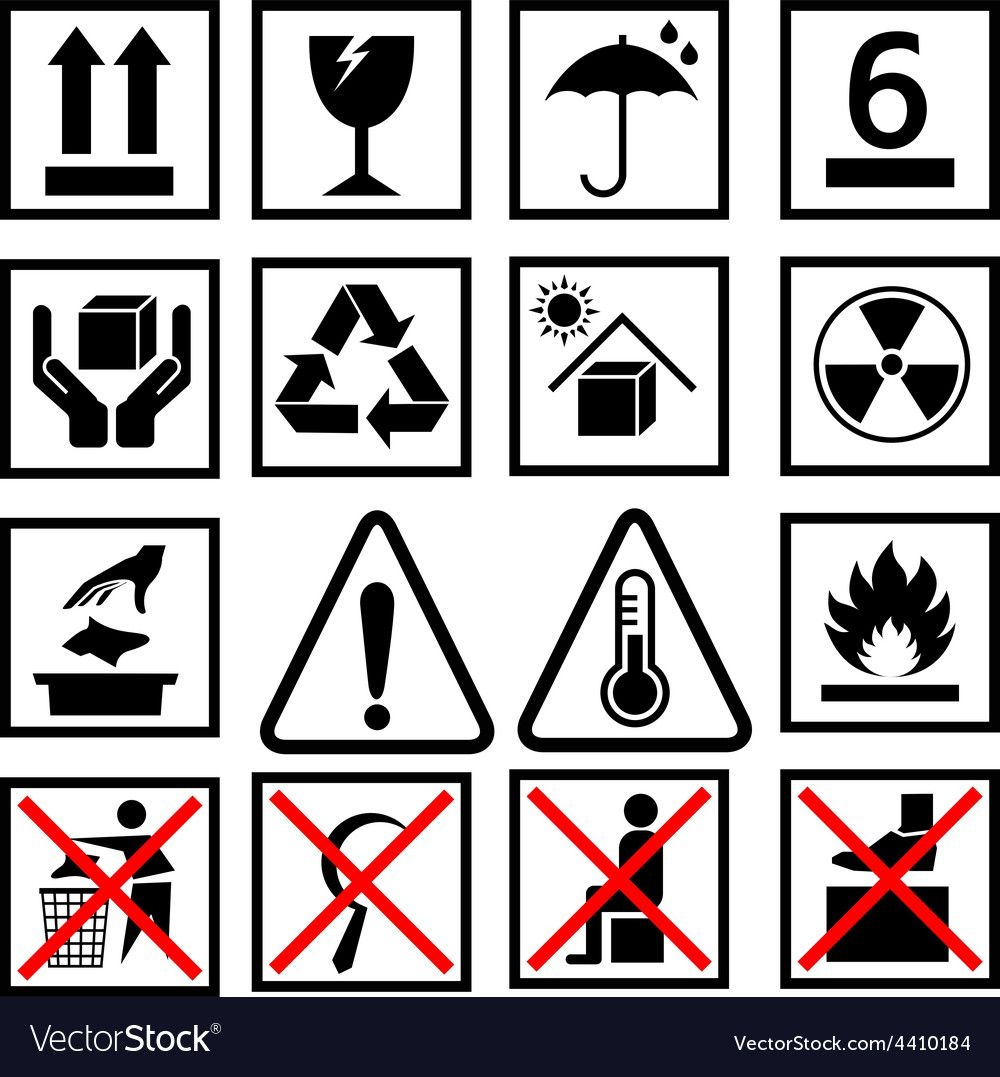 Warning of packaging symbol vector image on