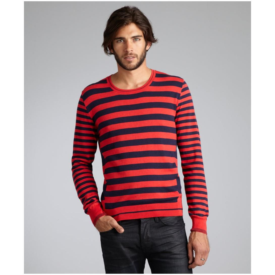 lightweight cotton men's sweaters | ... McQueen men's red and navy ...
