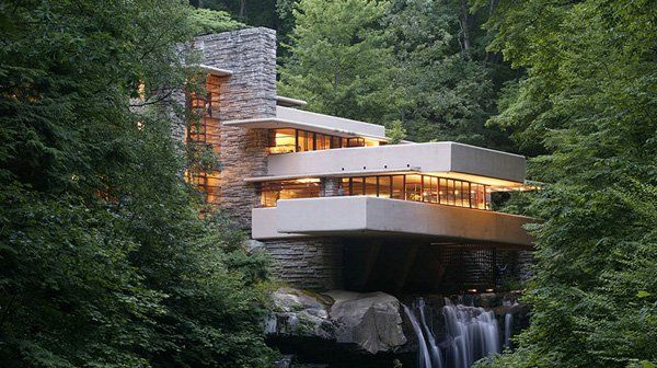 famous modern architecture. interesting modern kauffman residence or fallingwater  one of the most renowned modernist  villas built by modern architecture pioneer le corbusier in poissy near paris with famous modern architecture