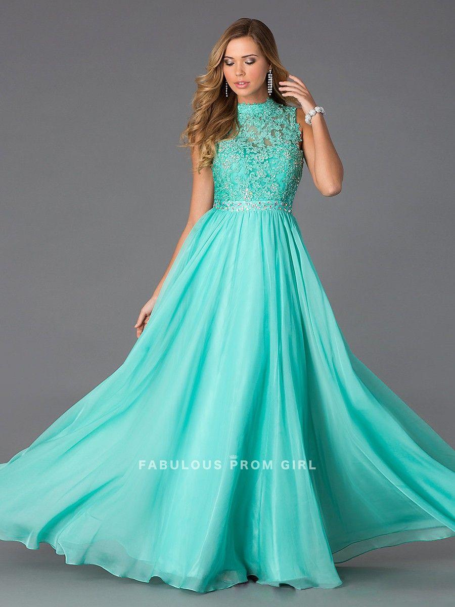 A-line Rhinestone Chiffon Prom Dresses / Evening Dresses   Azul ...