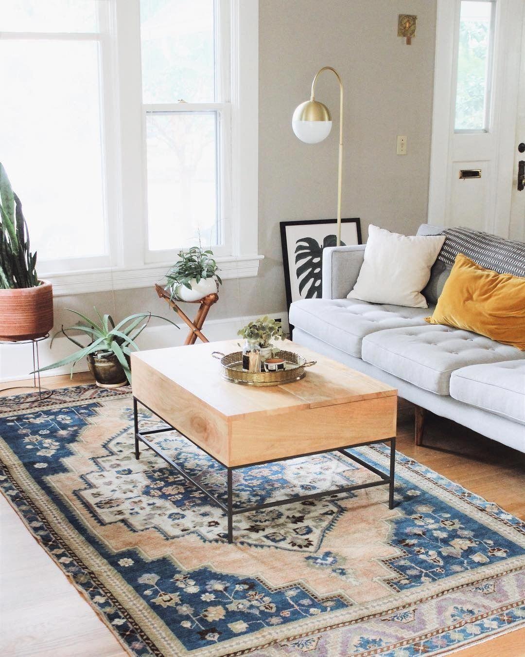 Living Room Vintage Rug Vintage Rug In Modern Room Modern