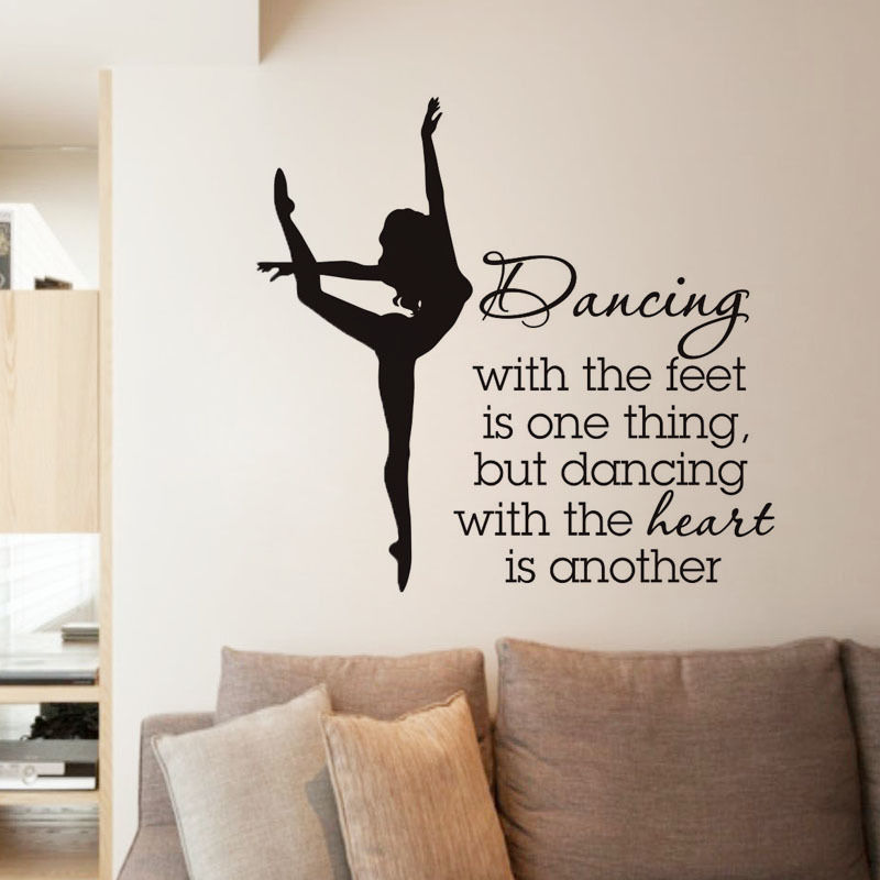 Elegant Ballet Dancer Wall Stickers For Dancer School Girls Bedroom Decor  Quotes Dancing Wall Decal Living