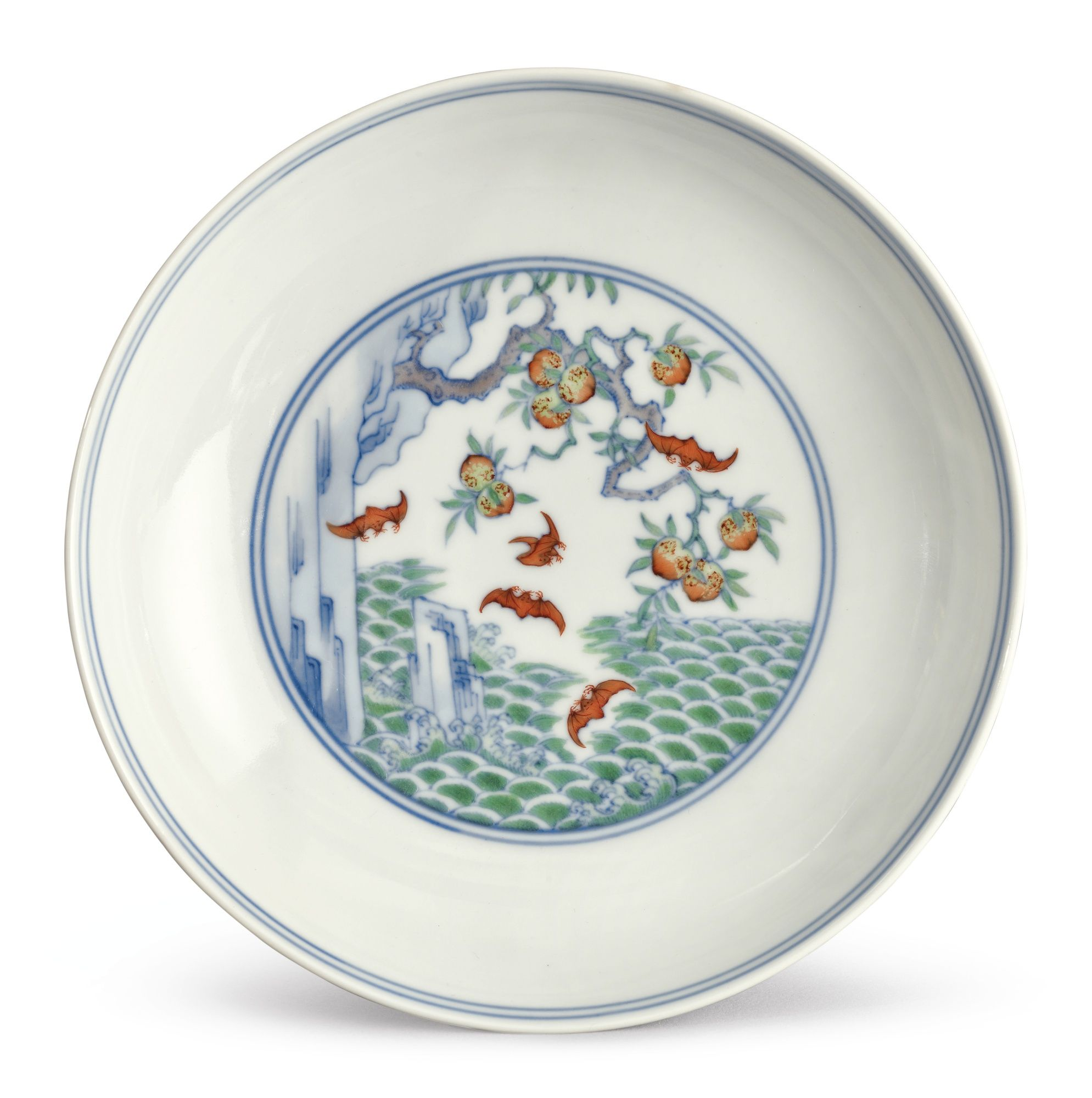 """8/"""" Chinese Blue and white Porcelain painted Feng shui Plate w Qianlong Mark"""