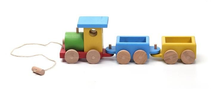 Lovely Handcrafted Wooden Train Natural Organic By