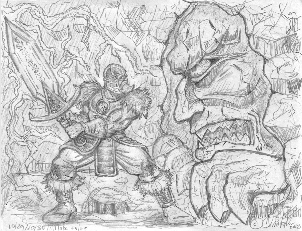Preliminary pencil sketch for digital painting keywords viking warrior magic sword