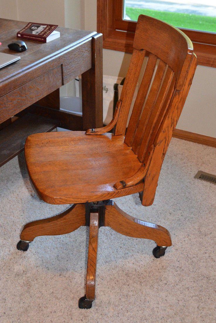 Antique Solid Quartersawn Oak Swivel Banker Office Chair Sheboygan Chair Cou2026