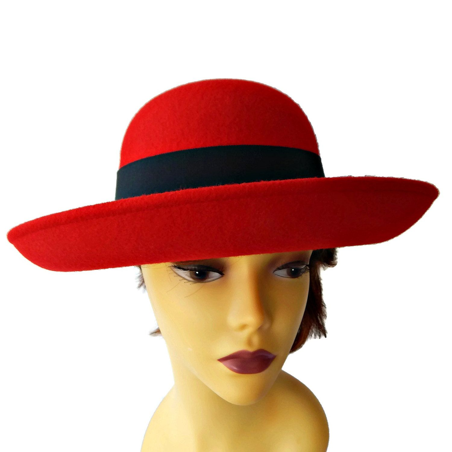 Red Wide Brim Hat with Black Ribbon and Bow Designer Geo Bollman