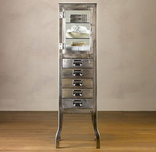 Brushed steel cabinet for extra storage