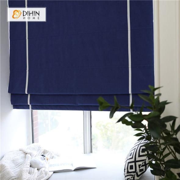 DIHIN HOME Blue Printed Roman Shades ,Easy Install