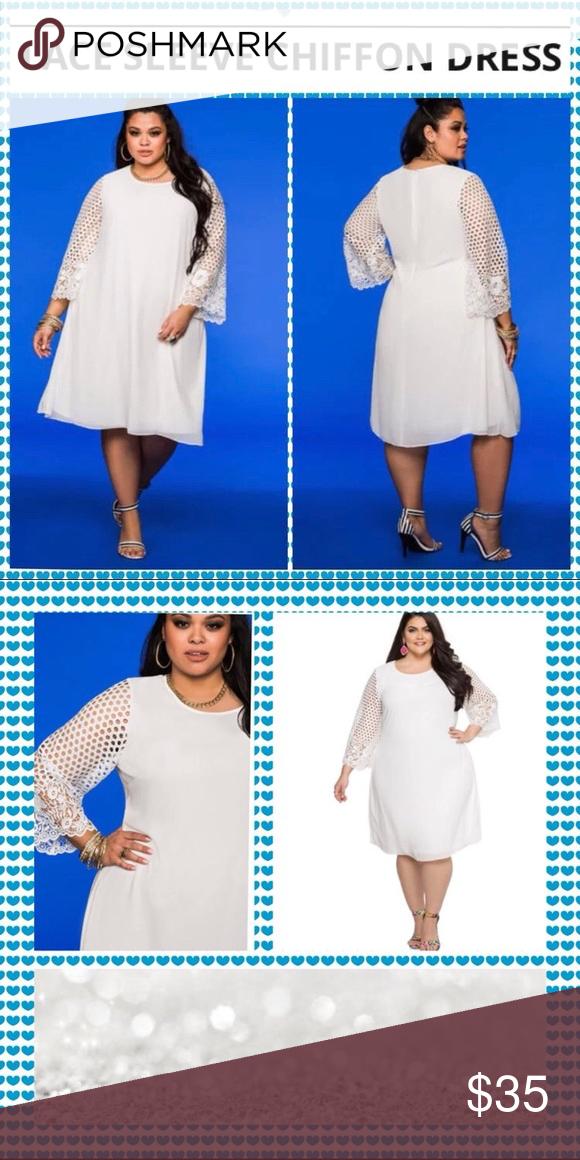 63b64735339 Ashley Stewart Lace Sleeve Chiffon Dress White