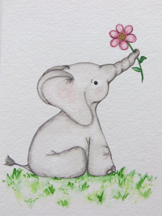 watercolor painting nursery art original painting elephant painting childrens art kids wall. Black Bedroom Furniture Sets. Home Design Ideas