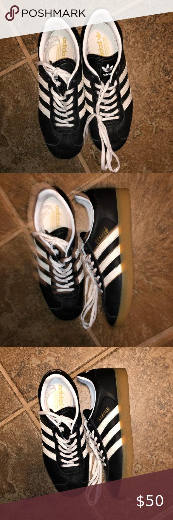 Adidas Gazelle Black Leather Ladies