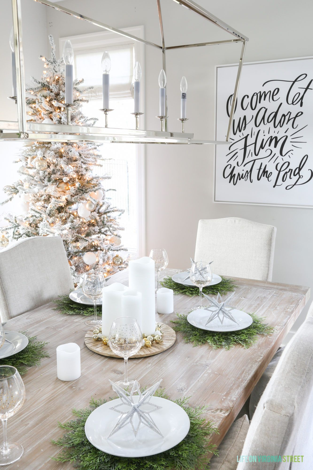 Glam Winter Wonderland Tablescape Winter Decor Dining Room Wall