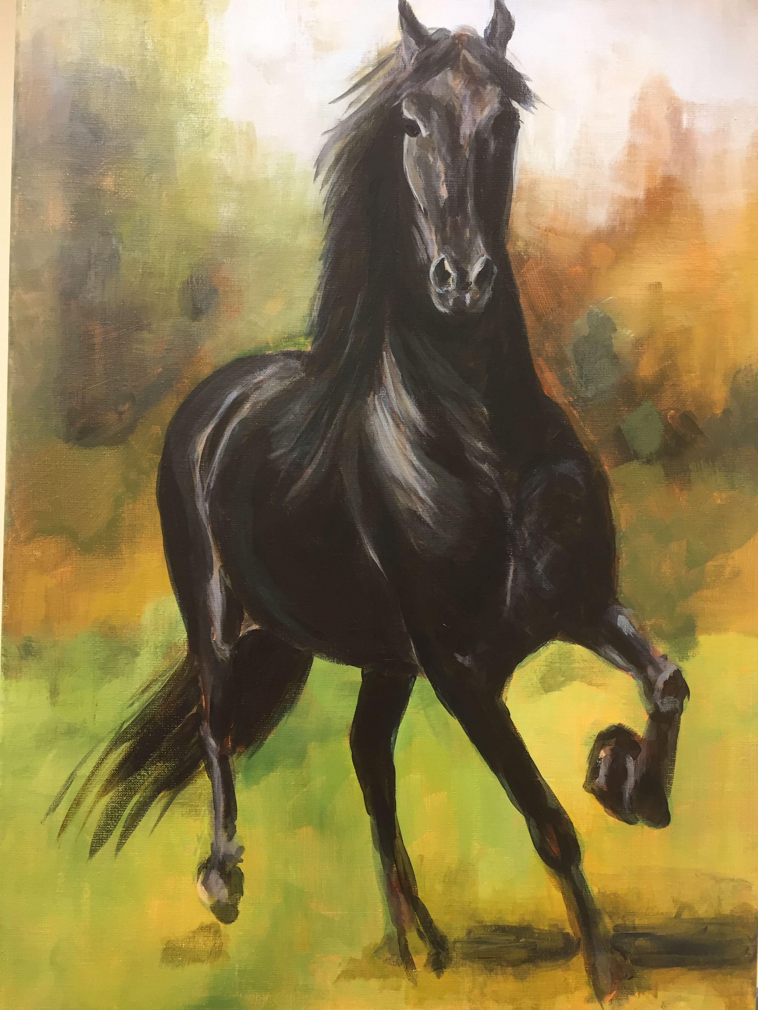 Spiksplinternieuw Fries paard schilderij 50x70 cm Acrylverf | Paard schilderij UY-26