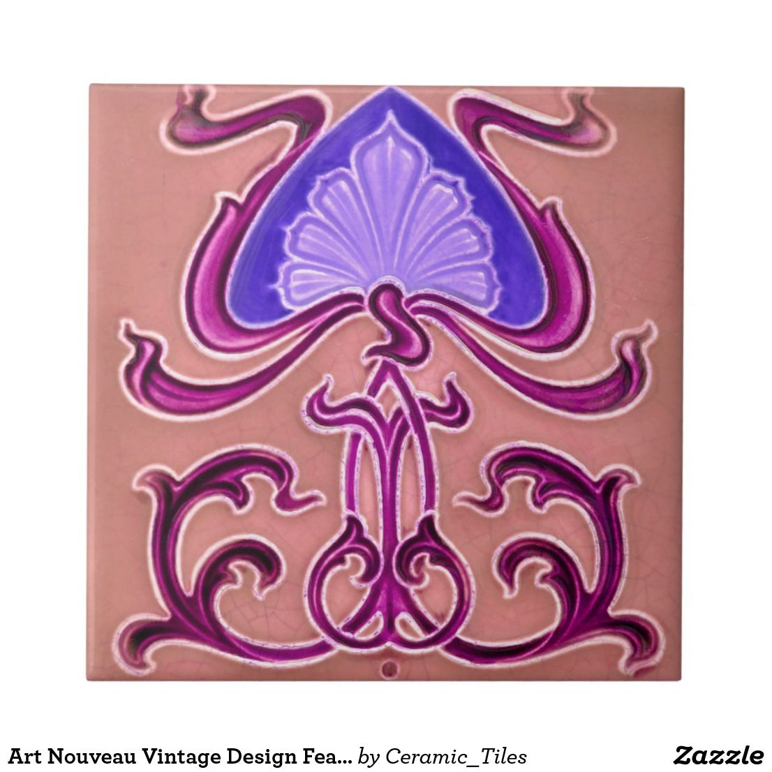 Art nouveau vintage design feature tile 2 sizes ceramics colors art nouveau vintage design feature tile 2 sizes doublecrazyfo Images