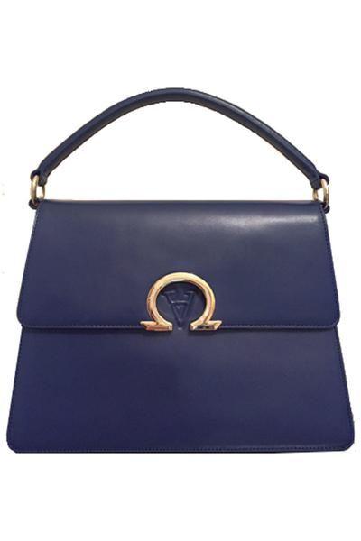 Tzanda Alpha And Omega Emblem Navy Australian Designer Handbag