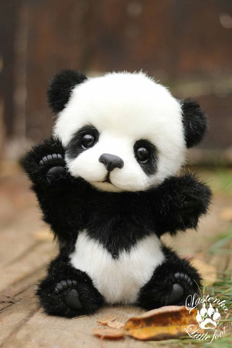 Panda bear Hugo handmade plush collectible artist stuffed teddy bear OOAK toy cute panda cub realistic teddy bear beas gift (made to order)