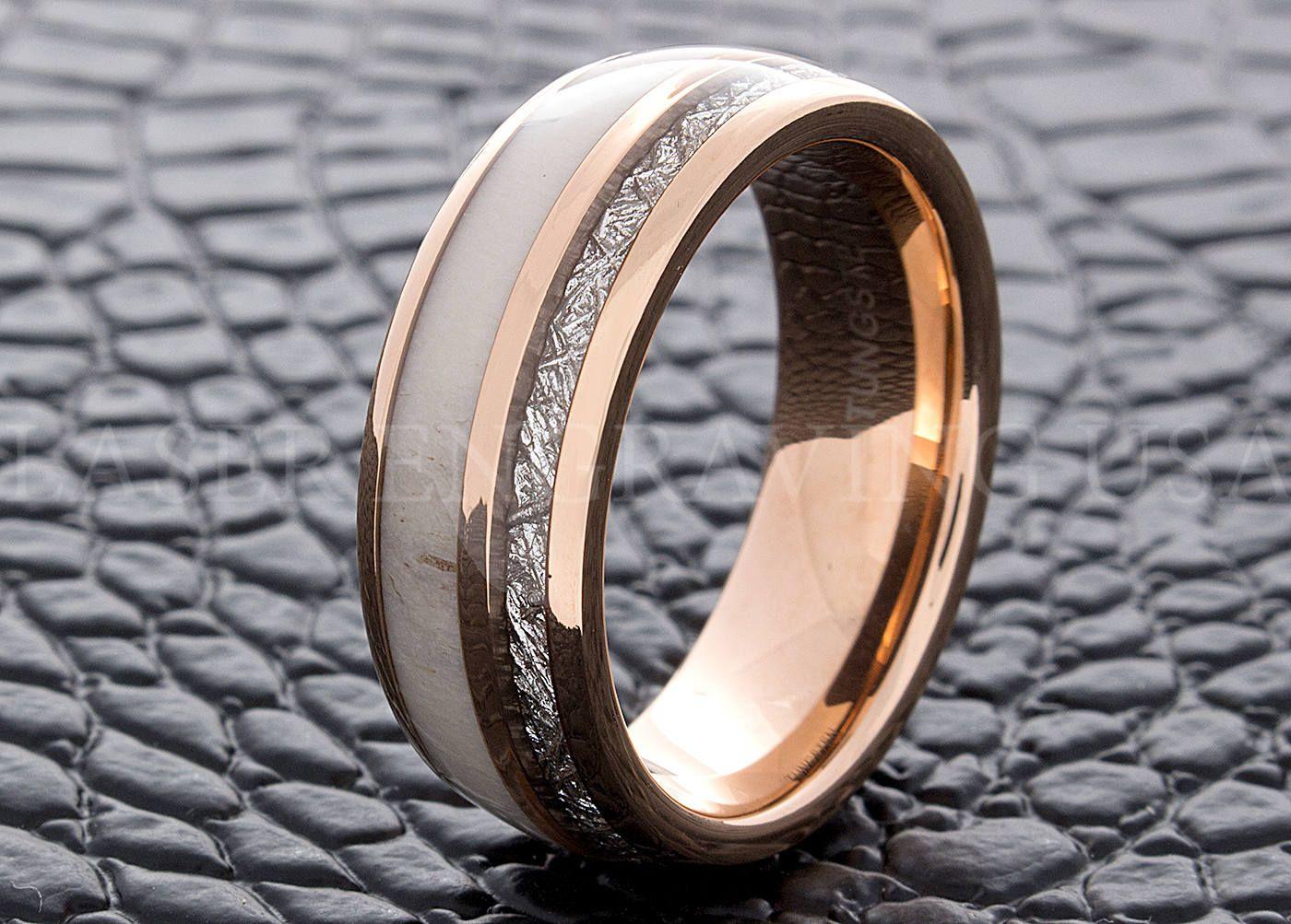 Tungsten Wedding Ring Meteorite Antler Rose Gold 8mm Men