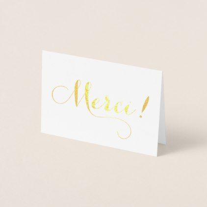 Gold Foil MERCI Calligraphy Thank You Card Calligraphy - place card template