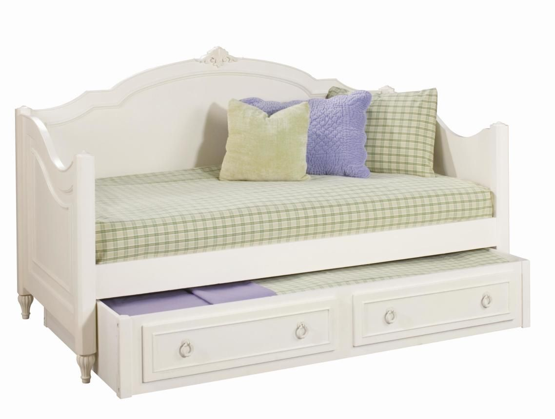Legacy Classic Kids Enchantment Twin Day Bed w/Trundle - Daybeds For Girls Cozy White Wooden Curved Beds For Sale Top