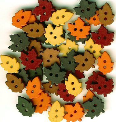 Autumn Embellishments DRESS IT UP Buttons Tiny Raking Leaves 4874