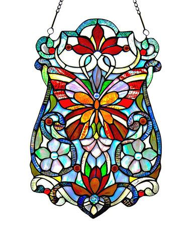 Love this Stained Glass Butterfly Fleurs Window Panel on #zulily! #zulilyfinds