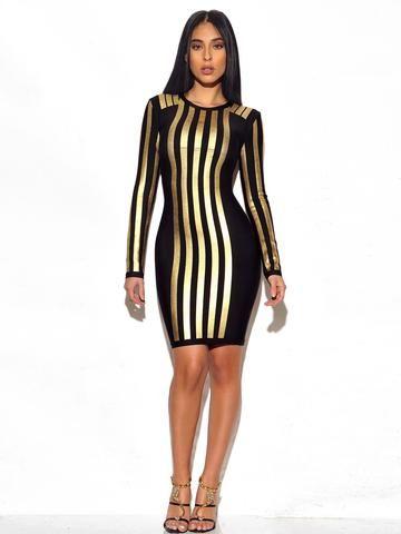 65230e6883 Jude Metallic Stripe Long Sleeve Bandage Dress